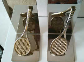 Pair of Vintage Retro Metal Tennis Themed Bookends