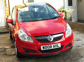 Vauxhall Corsa, 2008 (08) Red Hatchback, Manual Petrol, 70,000 miles