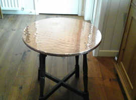 Brass Top Coffee Table With Wood Legs