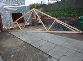 Roof Trusses & 2 ladders