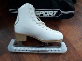 White To sport Ice Skates