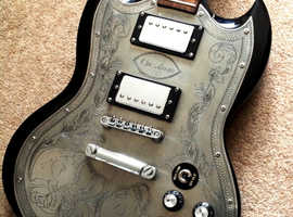 SG engraved electric guitar Cusomised in Goth style