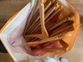 13 Wooden coat hangers