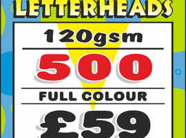 500 LETTERHEADS printed in FULL COLOUR on PREMIUM 120gsm paper FREE ARTWORK  FREE POSTAGE within UK