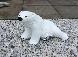 Concrete polar bear garden ornament