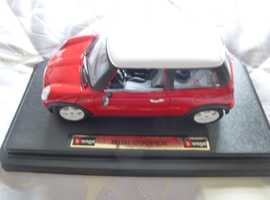 1:24 SCALE MINI COOPER; RED & WHITE ON STAND; £14.75 O.N.O.