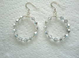 Handmade Silver/Clear, Bicone Glass Bead, Hoop Earrings with S.P. Hoop Ear-Wires