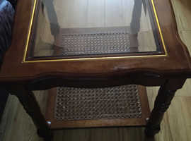 Glass insert solid wood Coffee/Lamp/Side Table with fretwork lower shelf