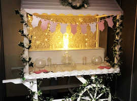 Beautiful white candy cart for sale