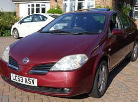 Nissan Primera, 2003 (53) Red Hatchback, Manual Petrol, 73,950 miles