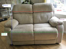 Light Grey Cord Fabric 2 seater Electric Recliner  V. Good Condition DFS