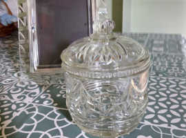 Cut glass jar with lid and photo frame