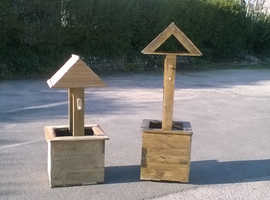 Handmade Wishing Well Garden Planter From Reclaimed Timbers (Pallet Wood) Free Local Delivery