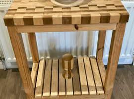 Oak custom made Butchers table