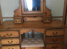 Vintage wood twin pedestal dressing table, stool and mirror