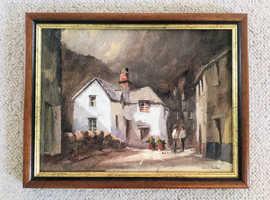 "Original Cornish Art - signed, titled oil painting by Jack R Mould ""Saxon Bridge at Polperro"""