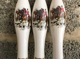 Set of 3 Vintage China Beer Pump Handle Fox Hunting Theme