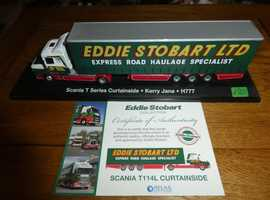 4 x EDDIE STOBART TRUCKS WITH CERTIFICATE OF AUTHENTICITY & SET OF 6 COASTERS
