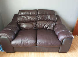 3 n 2 brown leather sofas
