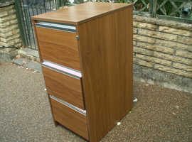 Teak Veneer, 3-drawer Filing Cabinet