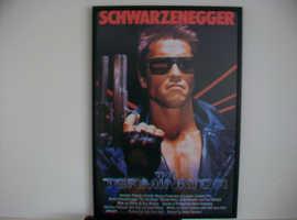 ARNOLD SCHWARZENEGGER. THE TERMINATOR. RARE FRAMED LARGE FILM POSTER.