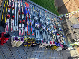 Skis, boots, poles and trousers