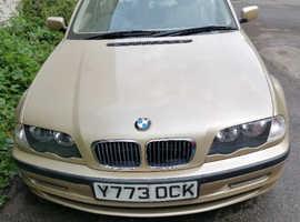 BMW 3 Series, 2001 (Y) Gold Saloon, Manual Petrol, 122500 miles