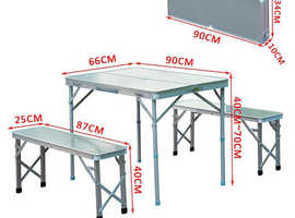 3 Pcs Portable Outdoor Picnic Table with Folding Bench Seats - Silver