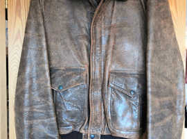 70's / 80's Vintage Brown Genuine Leather Men's / Gents Jacket, Nylon Lined