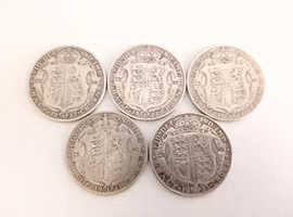 5x Silver Half Crown Coins - Various 1920's Dates