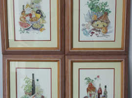 "Set of 4 Framed Prints – ""The Good Life"" by Margaret Stevens"