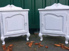 Vintage pair of French Louis Style Antique bedside cabinets - Shabby Chic