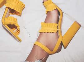 Solid Yellow Strap Heels