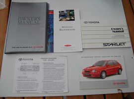 1997-99 Toyota Starlet Handbook/Owners Manual, Complete with Plastic Wallet, Club Members Handbook, etc
