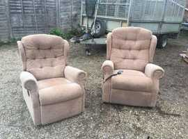 Extra wide celebrity rise and recliner and matching petite recliner. Can deliver. MR & MRS set!
