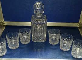 Edinburgh Crystal Decanter & six Matching Whiskey tumblers