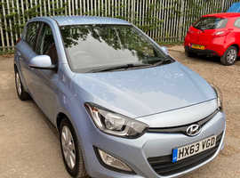 Hyundai i20, 2013 (63) Blue Hatchback, Manual Petrol, 54,395 miles