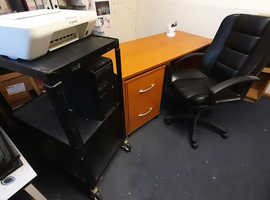 Office desk/swivel chair/filing cabinet/bookcase/printer/computer tiered rack