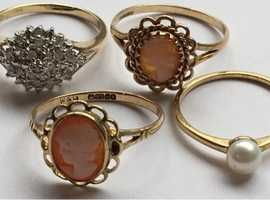 Ladies Jewellery 9ct Gold Diamond Cluster Ring & 9ct Gold Pearl Ring & 2x9ct Gold Cameo Ring's Fully Hallmarked 375.