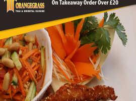 10% Discount On Takeaway Orders Over £20 | Orangegrass Thai & Oriental Cuisine