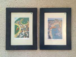 Original Cornish Art - 2 x Framed Original Seb West signed prints - well-known St. Ives artist