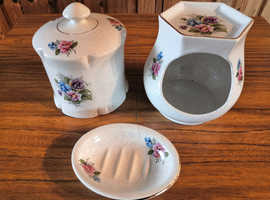 Vintage Kernewek Pottery Duchy Direct Cornish China 3 Piece Floral Bathroom Set