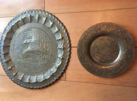 2 vintage brass coloured engraved decorative wall plates