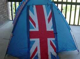 Union Jack two man tent with ground sheet and two sleeping bags.