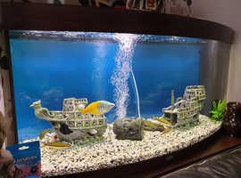 Juwel Tropical aquarium fish tank WITH FISH, ornaments, filters, gravel & food