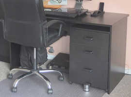 Black Office desk and matching 3 drawer unit
