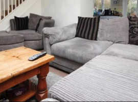 Grey cord corner sofa with swivel chair and footstool