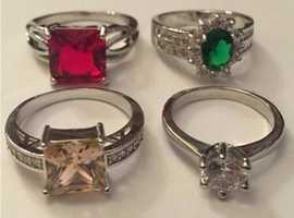 Ladies Jewellery 3xSilver Ruby & Emerald Cubic Zirconia Cluster Rings 925.