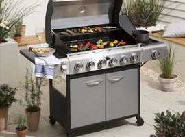 Premium 6 Gas Burner BBQ & Side Burner Garden Outdoor BBQ Trolley With Cover