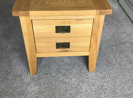 Solid oak drawer lamp table.